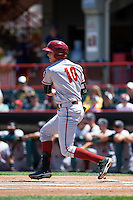 Altoona Curve second baseman Erich Weiss (10) at bat during a game against the Erie SeaWolves on July 10, 2016 at Jerry Uht Park in Erie, Pennsylvania.  Altoona defeated Erie 7-3.  (Mike Janes/Four Seam Images)