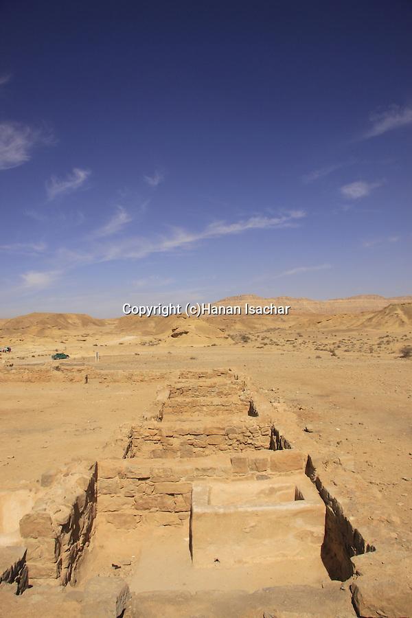 Israel, Negev desert, ruins of the Nabatean Khan Saharonim in Ramon crater