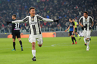 Calcio, Ottavi di finale di Tim Cup: Juventus vs Atalanta. Torino, Juventus Stadium, 11 gennaio 2017.<br /> Juventus' Paulo Dybala celebrates after scoring during the Italian Cup football round of 16 match between Juventus and Atalanta at Turin's Juventus Stadium, 8 January 2017. Juventus won 3-2 to join the quarter finals.<br /> UPDATE IMAGES PRESS/Manuela Viganti
