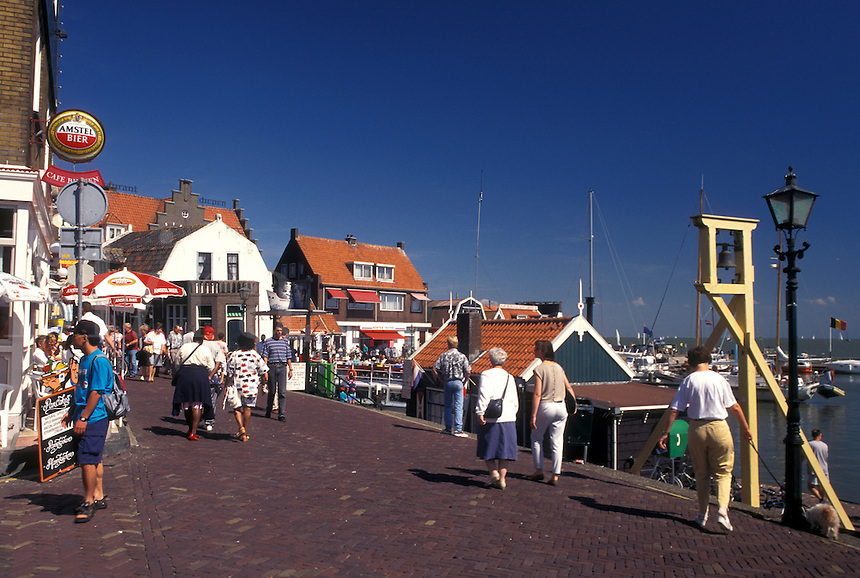 Netherlands, Holland, Volendam, Noord-Holland, Europe, Waterfront on the harbor on Markermeer in the town of Volendam.