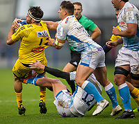 24th November 2019; AJ Bell Stadium, Salford, Lancashire, England; European Champions Cup Rugby, Sale Sharks versus La Rochelle; Jeremy Sinzelle of La Rochelle is tackled by Rohan Janse van Rensburg of Sale Sharks - Editorial Use