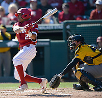 NWA Democrat-Gazette/ANDY SHUPE<br /> Arkansas left fielder Christian Franklin connects for a 2-run single against Missouri Saturday, March 16, 2019, during the fourth inning at Baum-Walker Stadium in Fayetteville. Visit nwadg.com/photos to see more photographs from the game.