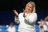 Chelsea Women's Manager, Emma Hayes applauds the fans at the end of the match during Chelsea Women vs Tottenham Hotspur Women, Barclays FA Women's Super League Football at Stamford Bridge on 8th September 2019