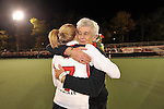 #7 Emma Thomas is hugged a close friend of hers before Maryland's 10-0 win over VCU at the Field Hockey and Lacrosse Complex in College Park MD on October 30, 2008.  Christopher Blunck/UMTerps.com.