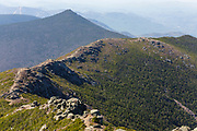 Mount Liberty from the summit of Mount Lincoln in the White Mountains, New Hampshire during the spring months. The Appalachian Trail (Franconia Ridge Trail) travels across this ridge.