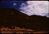 Red hillside near Leopard Creek at RGS MP 16.10.<br /> RGS  Leopard Creek, CO  Taken by Maxwell, John W. - 5/31/1946