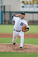 Detroit Tigers pitcher Gio Arriera (57) delivers a pitch during a Florida Instructional League game against the Pittsburgh Pirates on October 6, 2018 at Joker Marchant Stadium in Lakeland, Florida.  (Mike Janes/Four Seam Images)