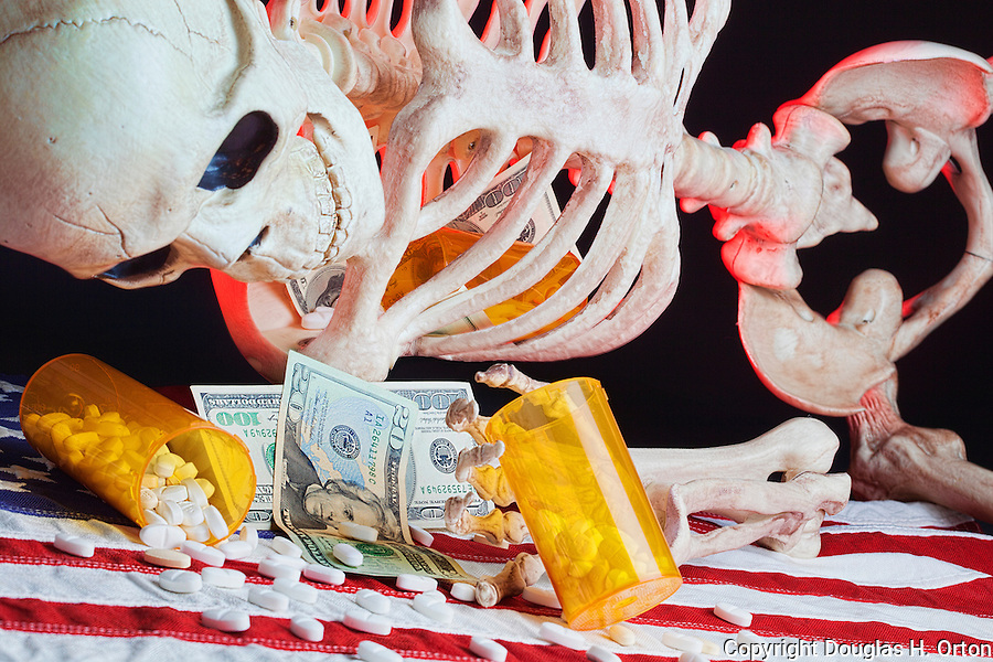 Skeleton illustration drug addiction problem with drugs, money, prescriptions, pills, flag and backlight.