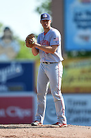 Hagerstown Suns pitcher Jake Johansen (36) gets ready to deliver a pitch during a game against the Lexington Legends on May 19, 2014 at Whitaker Bank Ballpark in Lexington, Kentucky.  Lexington defeated Hagerstown 10-8.  (Mike Janes/Four Seam Images)