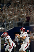 Hawgs Illustrated/Ben Goff<br /> Ty Storey, Arkansas quarterback, takes a snap in the 3rd quarter vs Texas A&M Saturday, Sept. 29, 2018, during the Southwest Classic at AT&T Stadium in Arlington, Texas.