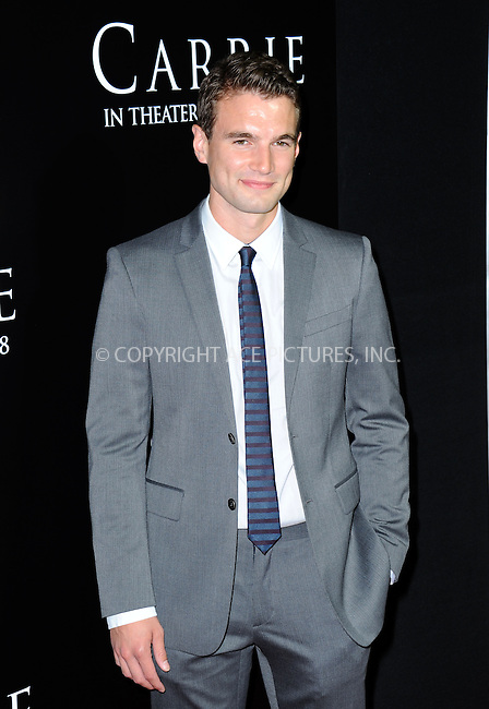 WWW.ACEPIXS.COM<br /> <br /> October 7 2013, LA<br /> <br /> Alex Russell arrives at the premiere of  'Carrie' at ArcLight Cinemas on October 7, 2013 in Hollywood, California.<br /> <br /> By Line: Peter West/ACE Pictures<br /> <br /> <br /> ACE Pictures, Inc.<br /> tel: 646 769 0430<br /> Email: info@acepixs.com<br /> www.acepixs.com