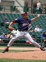 July 14, 2003:  Pitcher Scott Aldred of the Pawtucket Red Sox, Class-AAA affiliate of the Boston Red Sox, during a International League game at Frontier Field in Rochester, NY.  Photo by:  Mike Janes/Four Seam Images