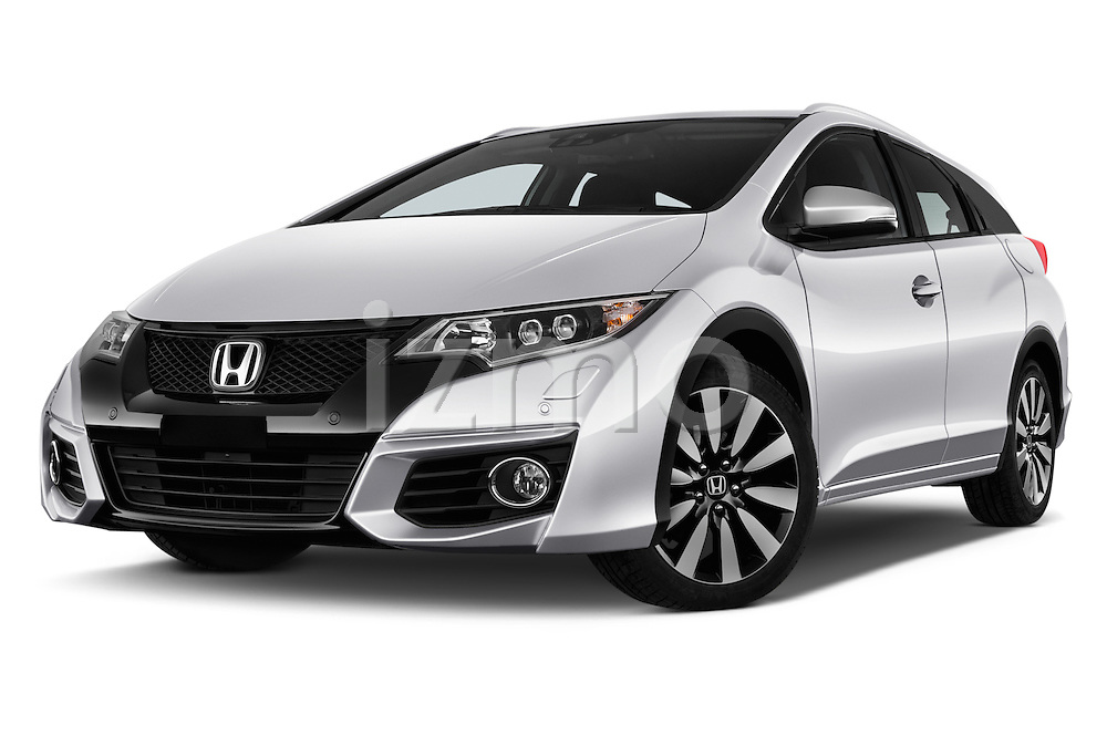 Stock pictures of low aggressive front three quarter view of 2016 Honda Civic Tourer Executive 5 Door Wagon Low Aggressive