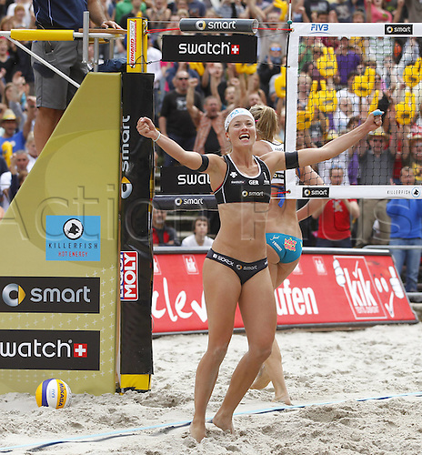 14.07.2012. Berlin, Germany.  Beach Volleyball Swatch World Tour 2012 Katrin Holt Wick Germany ger cheering After winning