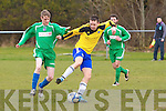 Tralee Athletic Jason Quirke takes on  Cedar Galaxy Owen Rerrisk Cedar Galaxy V Tralee Athletic at Mounthawk Park on Sunday