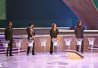 Left to right Lucas Radebe of South Africa, Masashi Nakayama of Japan, Cobi jones of USA and Christian Karembeu of France participate in the final draw. The final draw for the 2006 FIFA World Cup took place in the Congress Centre in Leipzig, Germany on December 9 2005.