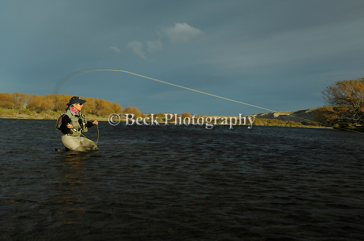 Fly fishing on the Collon Cura River in Argentina