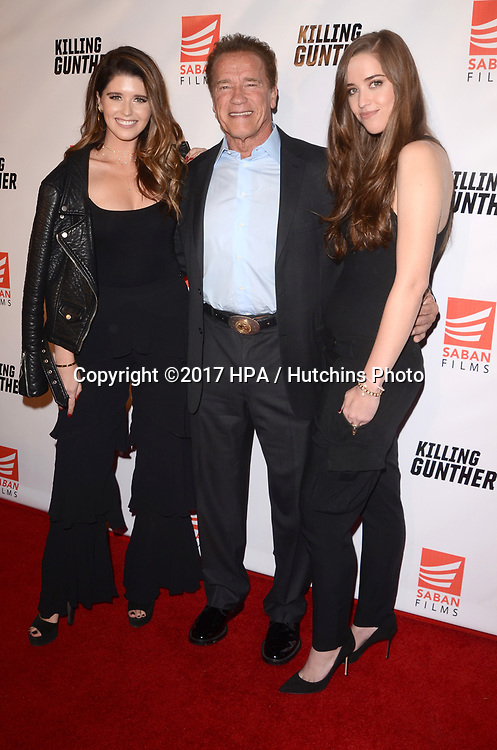 """LOS ANGELES - OCT 14:  Katherine Schwarzenegger, Arnold Schwarzenegger, Christina Schwarzenegger at the """"Killing Gunther"""" Los Angeles Special Screening at the TCL Chinese 6 Theaters on October 14, 2017 in Los Angeles, CA"""