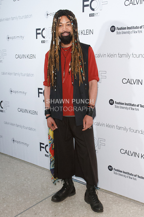 Ty Hunter arrives at the Future of Fashion 2017 runway show at the Fashion Institute of Technology on May 8, 2017.
