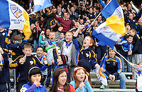 XXjob 12/10/2013* (SPORT)  Keel  supporters celebrate during the closing stages of  the Kerry junior club championship final at Fitzgerald Stadium, Killarney on Saturday.  Picture: Eamonn Keogh ( MacMonagle, Killarney)