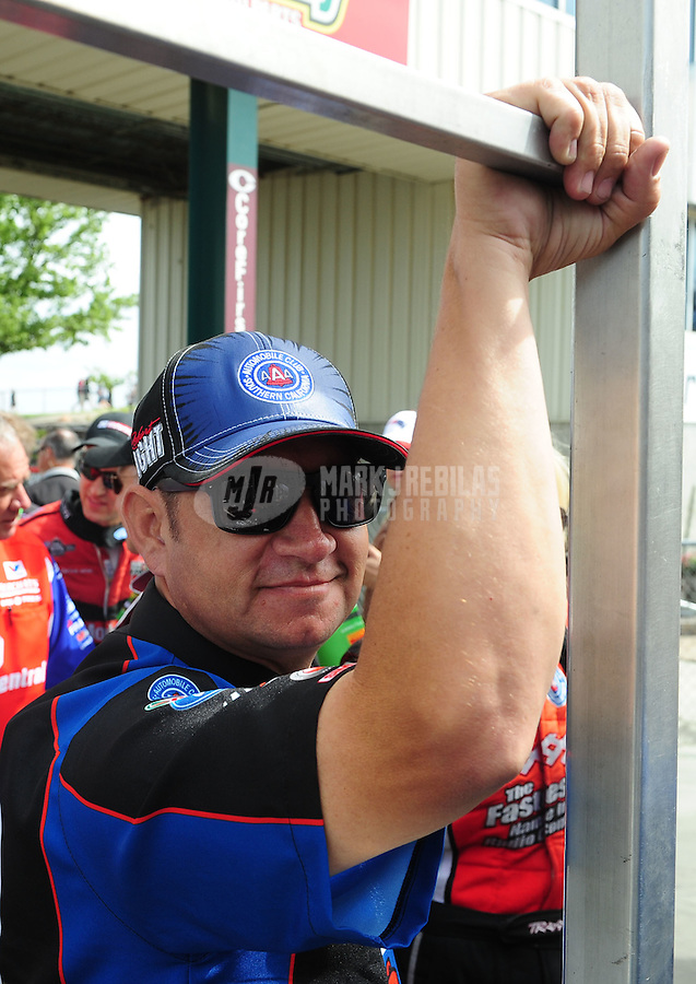 May 20, 2012; Topeka, KS, USA: NHRA funny car driver Robert Hight during the Summer Nationals at Heartland Park Topeka. Mandatory Credit: Mark J. Rebilas-