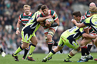 Mike Williams of Leicester Tigers takes on the Sale Sharks defence. Aviva Premiership match, between Leicester Tigers and Sale Sharks on April 29, 2017 at Welford Road in Leicester, England. Photo by: Patrick Khachfe / JMP