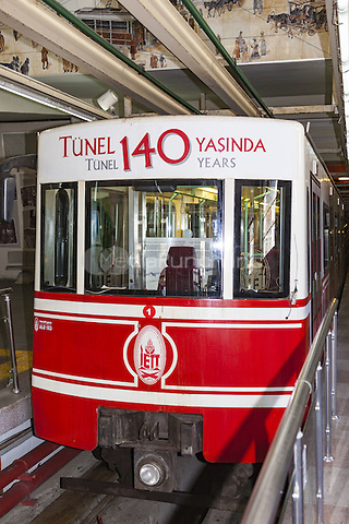 Funicular carriage, upper level of Tunel Karakoy to Beyoglu Funicular, Istanbul, Turkey  May 2015.<br /> CAP/MEL<br /> &copy;MEL/Capital Pictures /MediaPunch ***NORTH AND SOUTH AMERICA ONLY***
