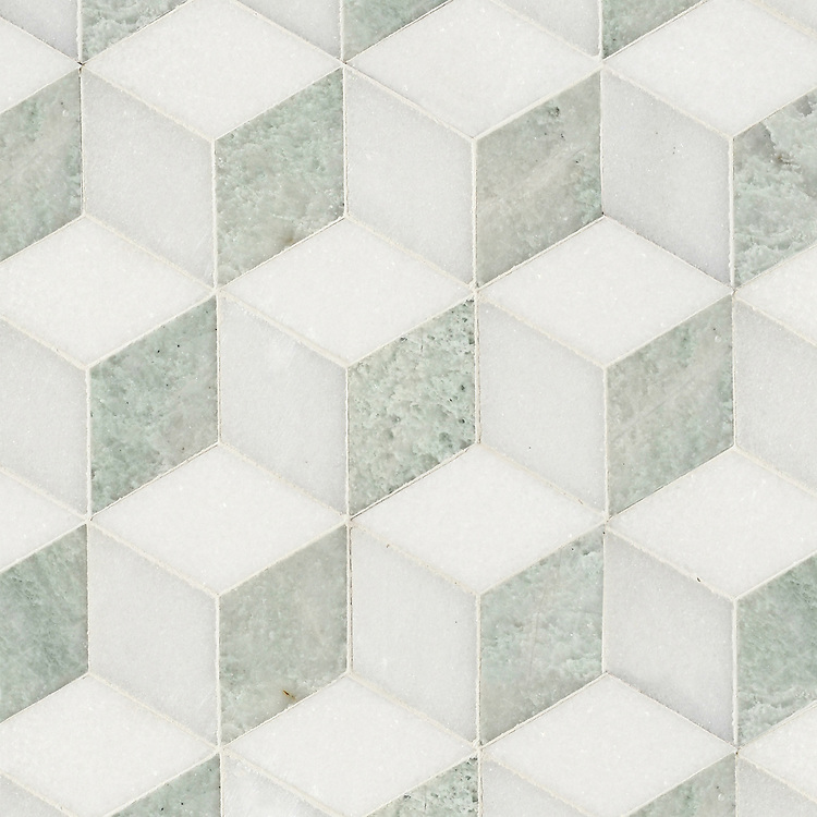 Euclid Grand, a hand-cut mosaic shown in polished Thassos, Paperwhite, and Ming Green, is part of the Illusions® collection by New Ravenna.