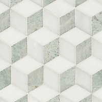 Euclid, a hand-cut mosaic shown in polished Thassos, Paperwhite, and Ming Green, is part of the Illusions™ collection by Sara Baldwin for New Ravenna.