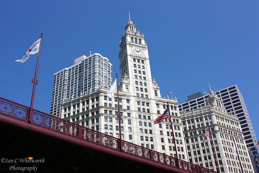 Looking up below the Michigan Ave bridge at the Wrigley Building