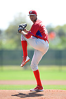 Philadelphia Phillies pitcher Ranfi Casimiro (66) during a minor league spring training game against the Pittsburgh Pirates on March 18, 2014 at the Carpenter Complex in Clearwater, Florida.  (Mike Janes/Four Seam Images)