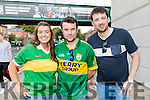 Norma McElligott (Ballyduff), with Rory Flannery (Dingle) and Peter Whelan (Ballyduff), Kerry fans pictured at the All-Ireland football semi-final in Croke Park on Sunday.