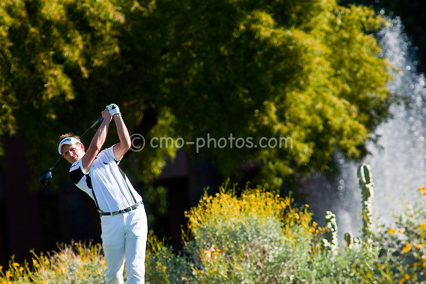 Feb 1, 2009; Scottsdale, AZ, USA; Luke Donald (GBR) hits his tee shot on the 5th hole during the final round of the FBR Open at the TPC Scottsdale.  Mandatory Credit: Chris Morrison-US PRESSWIRE