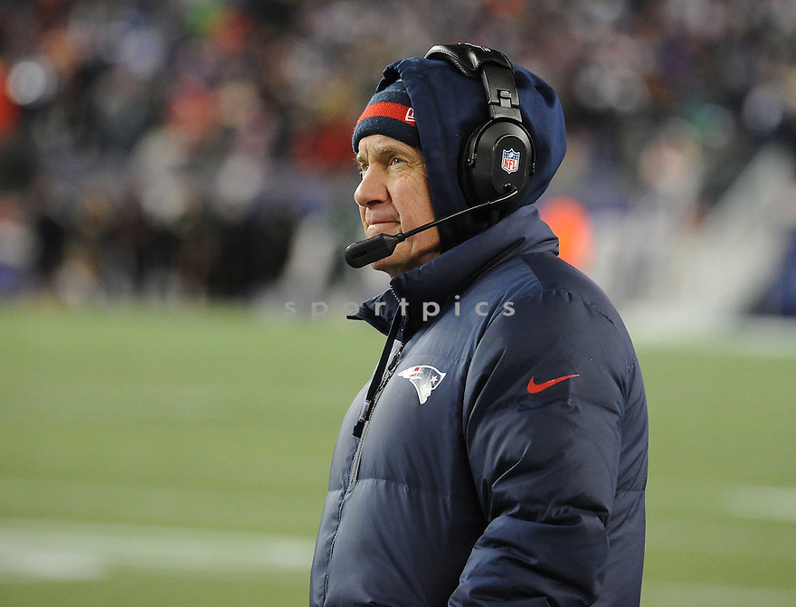 New England Patriots Bill Belichik (HC) during a game against the Denver Broncos on November 24, 2013 at Gillette Stadium in Foxboro, MA. The Patriots beat the Broncos 31-34 in OT.
