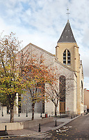 Nanterre Cathedral (Cathédrale Sainte-Geneviève-et-Saint-Maurice de Nanterre), 1924 - 1937, by architects Georges Pradelle and Yves-Marie Froidevaux, Nanterre, Hauts-de-Seine, France. The bell tower is the only remaining element of the old church dating back 14th century. Picture by Manuel Cohen