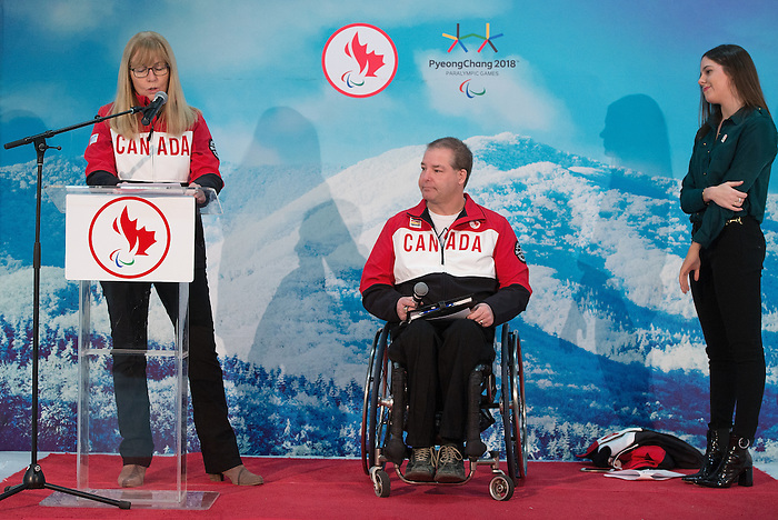Ottawa, ON - January 24 2017 - Karen O'Neill introduces Todd Nicholson as the Team Canada Chef de Mission for the 2018 Paralympic Winter Games in Pyeongchang, South Korea at the Jim Durrell Recreation Complex in Ottawa, Ontario, Canada (Photo: Matthew Murnaghan/Canadian Paralympic Committee)