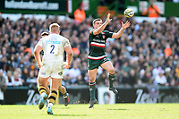 George Ford of Leicester Tigers receives the ball. Aviva Premiership match, between Leicester Tigers and Wasps on March 25, 2018 at Welford Road in Leicester, England. Photo by: Patrick Khachfe / JMP