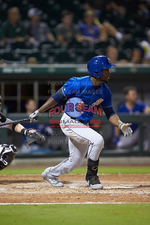 Lucius Fox (3) of the Durham Bulls follows through on his swing against the Charlotte Knights at BB&T BallPark on July 31, 2019 in Charlotte, North Carolina. The Knights defeated the Bulls 9-6. (Brian Westerholt/Four Seam Images)