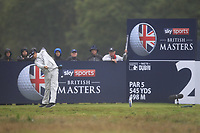 Jeunghun Wang (KOR) on the 2nd tee during Round 4 of the Sky Sports British Masters at Walton Heath Golf Club in Tadworth, Surrey, England on Sunday 14th Oct 2018.<br /> Picture:  Thos Caffrey | Golffile<br /> <br /> All photo usage must carry mandatory copyright credit (&copy; Golffile | Thos Caffrey)