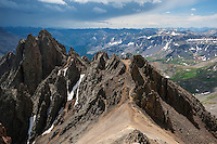 View of Lavender Col from southeast couloir on Mt. Sneffels (14150 ft), San Juan mountains, Colorado, USA