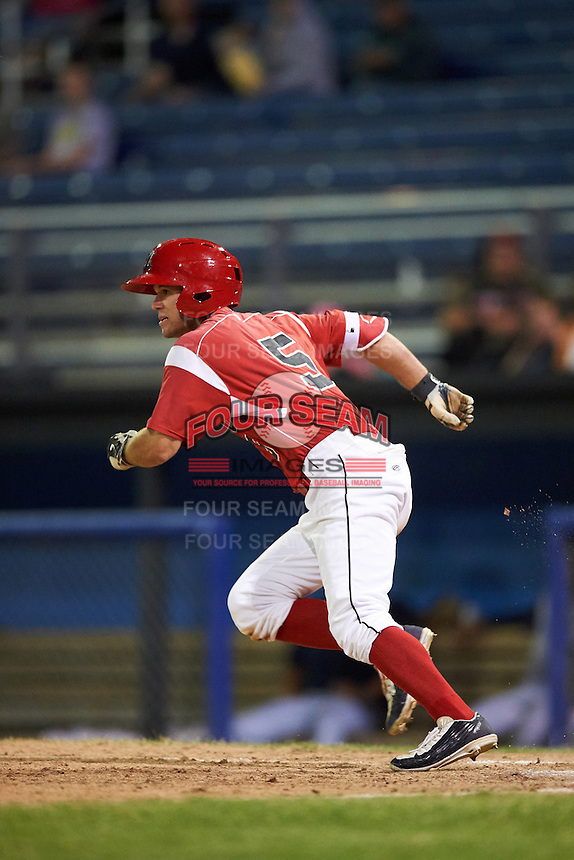Batavia Muckdogs Aaron Knapp (5) runs to first base during a game against the Brooklyn Cyclones on July 5, 2016 at Dwyer Stadium in Batavia, New York.  Brooklyn defeated Batavia 5-1.  (Mike Janes/Four Seam Images)