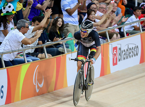 09.09.2016. Rio de Janeiro, Brazil.  Cyclist Erich Winkler of Germany reacts after finishing third placed in the Cycling Track - Men's C1 3000M Individual Pursuit Qualification of the Rio 2016 Paralympic Games, Rio de Janeiro, Brazil, 09 September 2016.