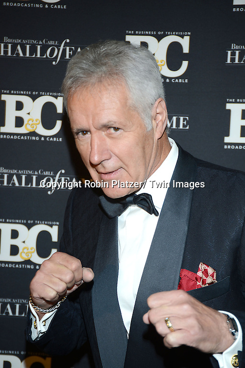 honoree Alex Trebek attends the Broadcasting and Cable Hall of Fame Awards on Oct 28, 2013 at the Waldorf Astoria Hotel in New York City.
