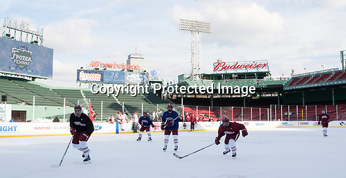 - The UMass Minutemen practiced at Fenway Park on Friday, January 6, 2017, in Boston, Massachusetts.