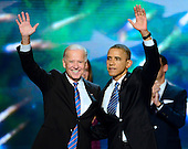 United States President Barack Obama and Vice President Joe Biden following their acceptance speeches for their party's nomination for a second term at the 2012 Democratic National Convention in Charlotte, North Carolina on Thursday, September 6, 2012.  .Credit: Ron Sachs / CNP.(RESTRICTION: NO New York or New Jersey Newspapers or newspapers within a 75 mile radius of New York City)