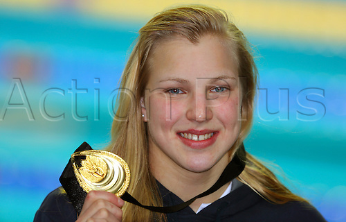 13.12.2012 Istanbul, Turkey. Lithuania's Ruta Meilutyte presents her gold medal after winning the women's 50m breaststroke final during the World Short Course Swimming Championships in Istanbul.