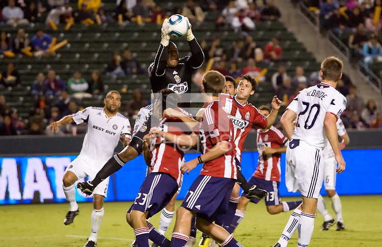 CD Chivas USA goalkeeper leaps high for a save in the box. The Chicago Fire defeated CD Chivas USA 3-1 at Home Depot Center stadium in Carson, California on Saturday October 23, 2010.