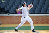 Grant Shambley (43) of the Wake Forest Demon Deacons follows through on his swing against the High Point Panthers at Wake Forest Baseball Park on April 2, 2014 in Winston-Salem, North Carolina.  The Demon Deacons defeated the Panthers 10-6.  (Brian Westerholt/Four Seam Images)