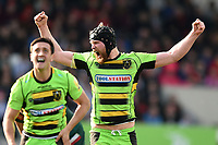 James Craig of Northampton Saints celebrates at the final whistle. Aviva Premiership match, between Leicester Tigers and Northampton Saints on April 14, 2018 at Welford Road in Leicester, England. Photo by: Patrick Khachfe / JMP