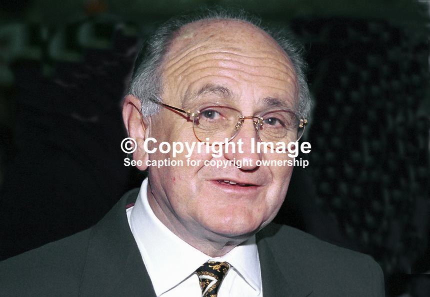 Gerry Collins, Fianna Fail, MEP. Taken at Fianna Fail (Rep of Ireland Political Party) Ard Fheis (annual party conference) March 2000. Ref: 200003017.<br /> <br /> Copyright Image from Victor Patterson,<br /> 54 Dorchester Park, <br /> Belfast, UK, BT9 6RJ<br /> <br /> t1: +44 28 9066 1296 (from Rep of Ireland 048 9066 1296)<br /> t2: +44 28 9002 2446 (from Rep of Ireland 048 9002 2446)<br /> <br /> m: +44 7802 353836<br /> <br /> e: victorpatterson@me.com<br /> www.victorpatterson.com<br /> <br /> Please see my Terms and Conditions of Use at www.victorpatterson.com. It is IMPORTANT that you familiarise yourself with them.<br /> <br /> Images used on the Internet must be visibly watermarked i.e. &copy; Victor Patterson<br /> within the body of the image and copyright metadata must not be deleted. Images <br /> used on the Internet have a size restriction of 4kbs and will be chargeable at current<br />  NUJ rates unless agreed otherwise.<br /> <br /> This image is only available for the use of the download recipient i.e. television station, newspaper, magazine, book publisher, etc, and must not be passed on to any third <br /> party. It is also downloaded on condition that each and every usage is notified within 7 days to victorpatterson@me.com<br /> <br /> The right of Victor Patterson to be identified as the author is asserted in accordance with The Copyright Designs And Patents Act (1988). All moral rights are asserted.